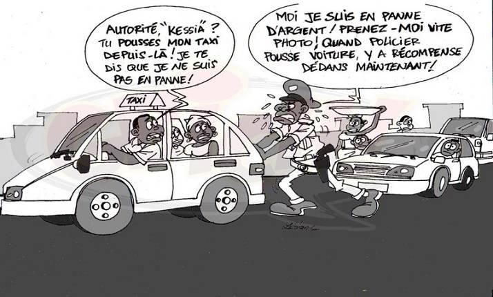 POLICIER POUSSEUR DE VOITURE